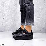 Кроссовки женские черные эко кожа, фото 5