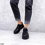 Кроссовки женские черные эко кожа, фото 4