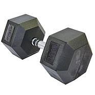 Гантель цельная шестигранная гексагональная ZELART (1шт) 35кг (сталь хромированная, резина, вес 35кг), фото 2