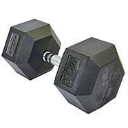 Гантель 37,5 кг цілісна шестигранна гексагональна ZELART (1шт) (хромована сталь, гума, вага, фото 2