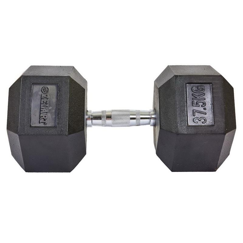 Гантель 37,5 кг цілісна шестигранна гексагональна ZELART (1шт) (хромована сталь, гума, вага