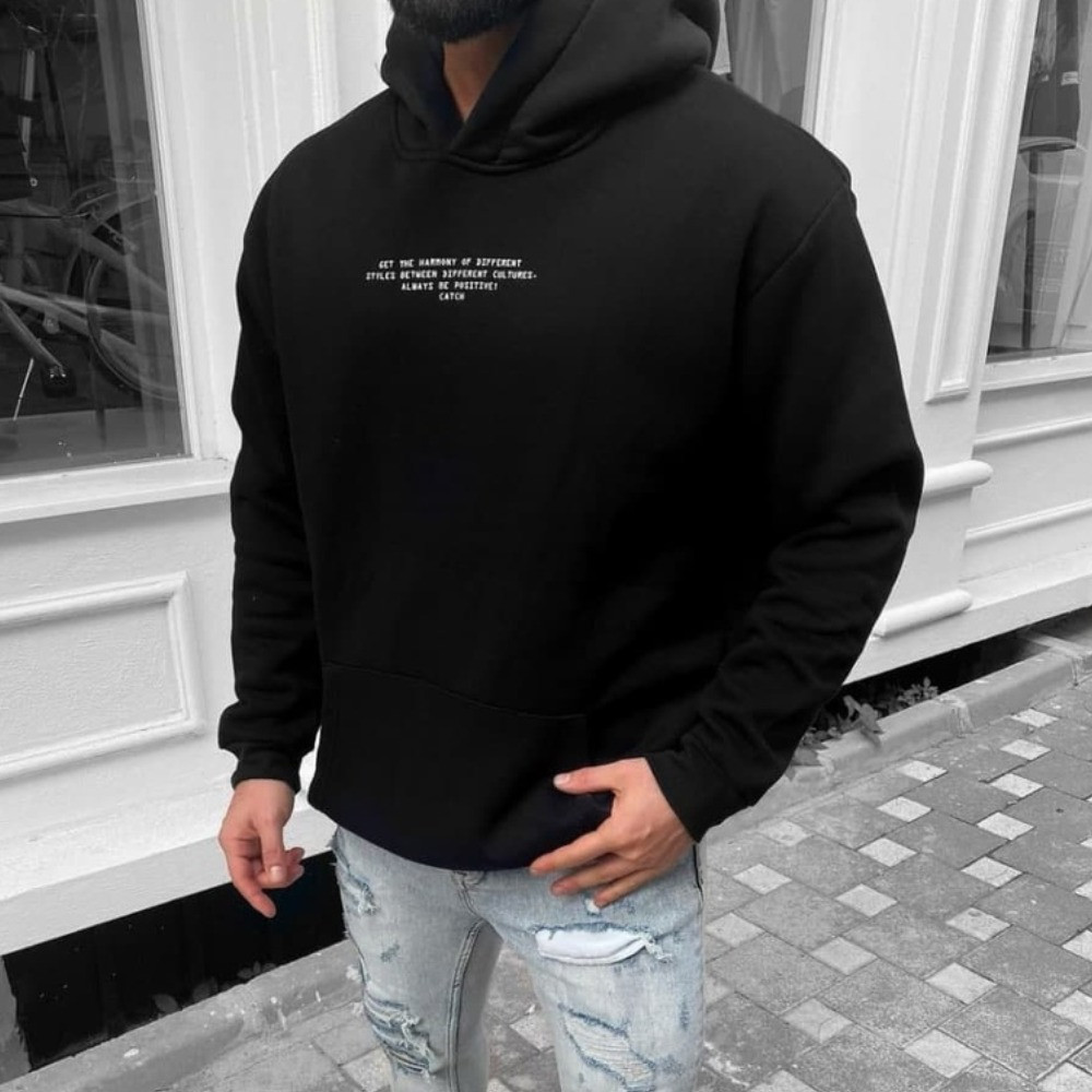 Молодіжне худі чоловіче | Кофта чорного кольору | Толстовка з капюшоном