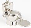 Брелок на ключи унитаз серебристый металл крутой, фото 3