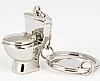 Брелок на ключи унитаз серебристый металл крутой, фото 4
