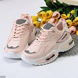 Трендовые розовые кроссовки сникерсы с рефлективными светоотражающими вставками, фото 2