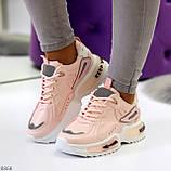 Трендовые розовые кроссовки сникерсы с рефлективными светоотражающими вставками, фото 6