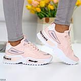 Трендовые розовые кроссовки сникерсы с рефлективными светоотражающими вставками, фото 7
