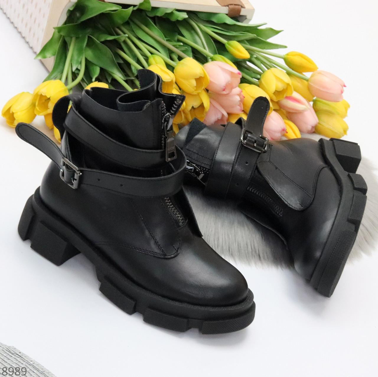 Эффектные молодежные черные гранж ботинки натуральная кожа с ремнями