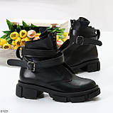 Эффектные молодежные черные гранж ботинки натуральная кожа с ремнями, фото 2