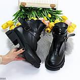 Эффектные молодежные черные гранж ботинки натуральная кожа с ремнями, фото 3