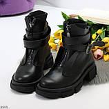 Эффектные молодежные черные гранж ботинки натуральная кожа с ремнями, фото 4