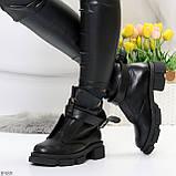 Эффектные молодежные черные гранж ботинки натуральная кожа с ремнями, фото 5