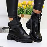 Эффектные молодежные черные гранж ботинки натуральная кожа с ремнями, фото 6