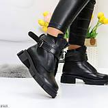 Эффектные молодежные черные гранж ботинки натуральная кожа с ремнями, фото 7