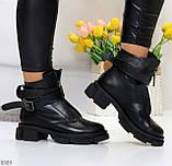 Эффектные молодежные черные гранж ботинки натуральная кожа с ремнями, фото 8