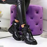 Эффектные молодежные черные гранж ботинки натуральная кожа с ремнями, фото 9