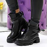 Эффектные молодежные черные гранж ботинки натуральная кожа с ремнями, фото 10