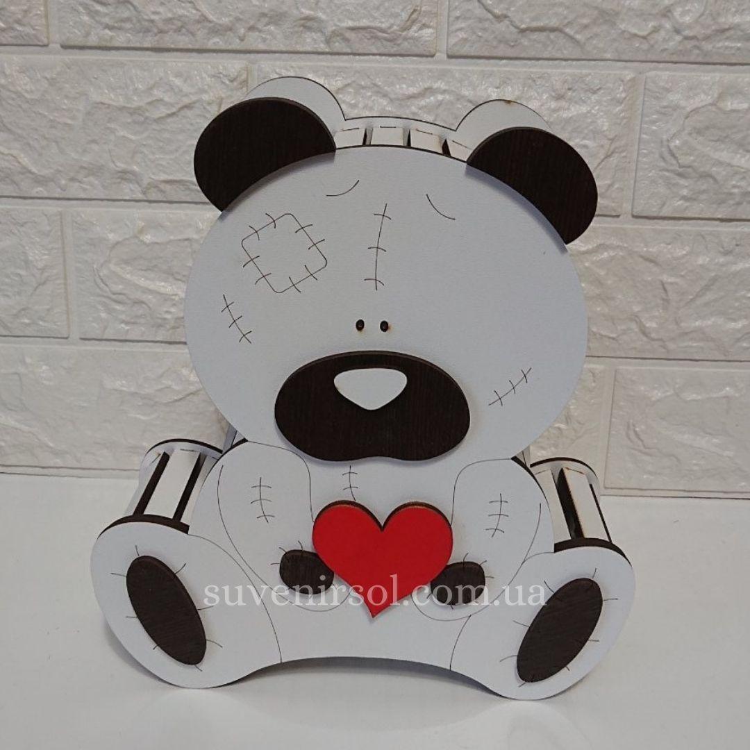 Шкатулка большая Мишка с сердцем белый