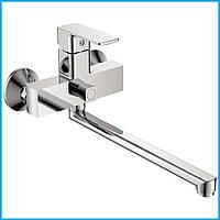 Смеситель для ванны с длинным поворотным изливом 35 см с душем Cron Kubus 006 euro