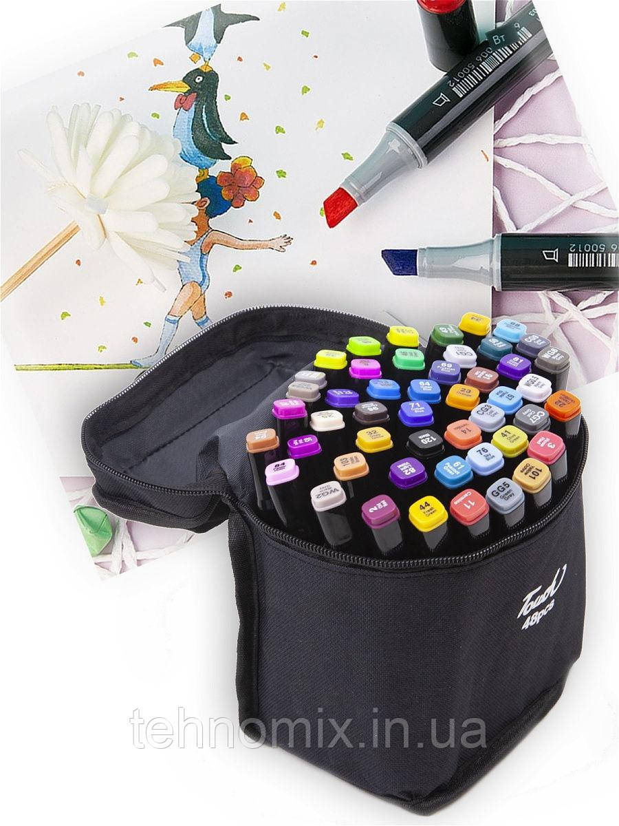 Набор 48 цветов двусторонних маркеров Touch для рисования и скетчинга на спиртовой основе 48 штук