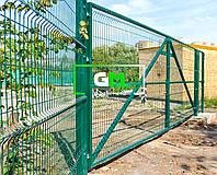 Секционные распашные ворота 1.5х3 м (RAL 6005). Монтаж ворот и секционных ограждений