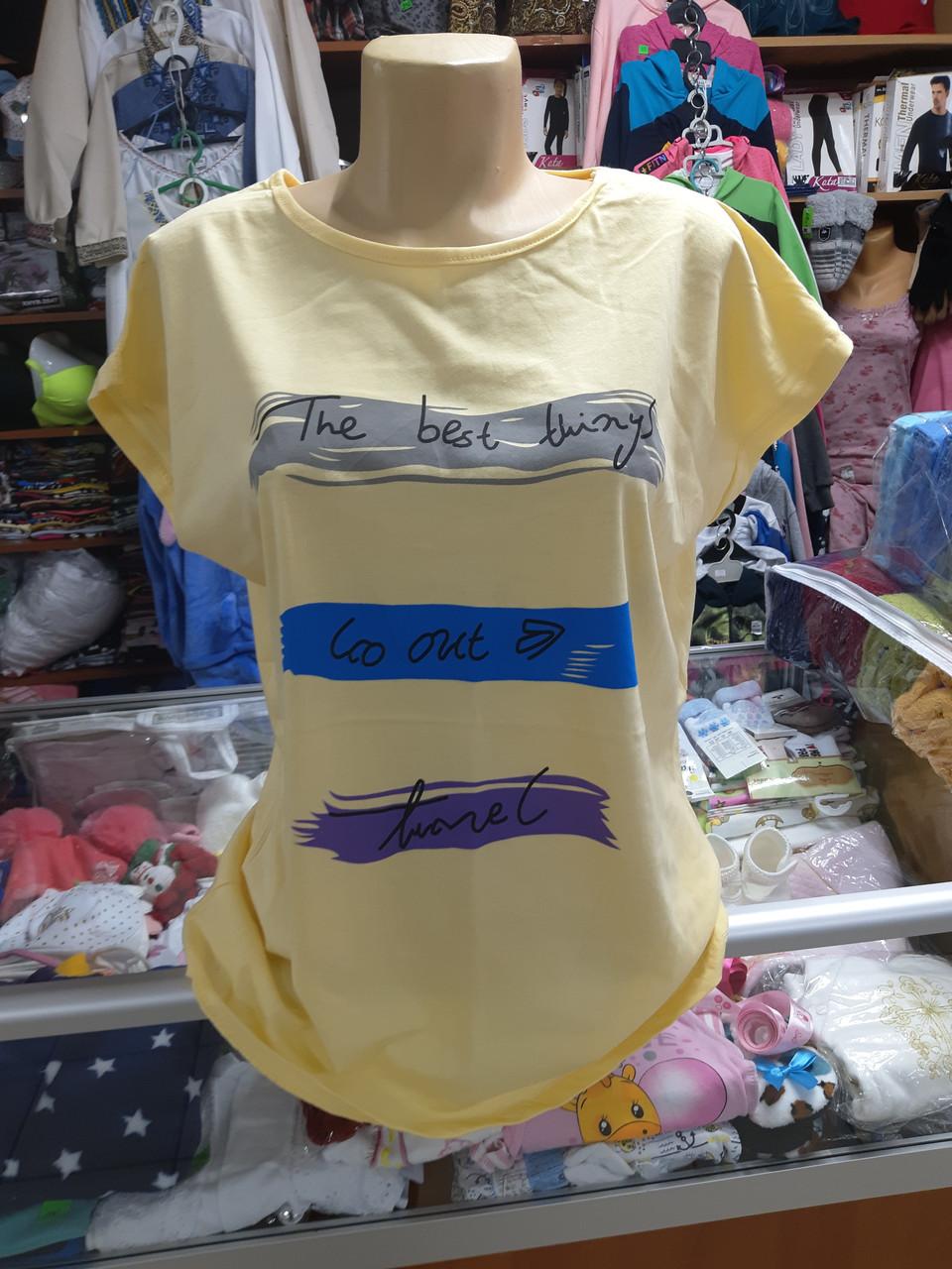Жіноча літня футболка великі розміри 52-58