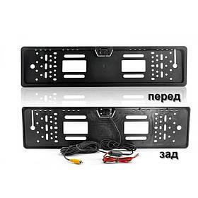 Камера заднього виду у рамці автомобільного номери з LED підсвічуванням A58 JX9488 Black