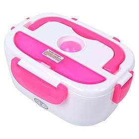 Электрический ланч бокс с подогревом 2-в-1 12/220В от сети и прикуривателя Electric Lunch Box 1.05 л Розовый