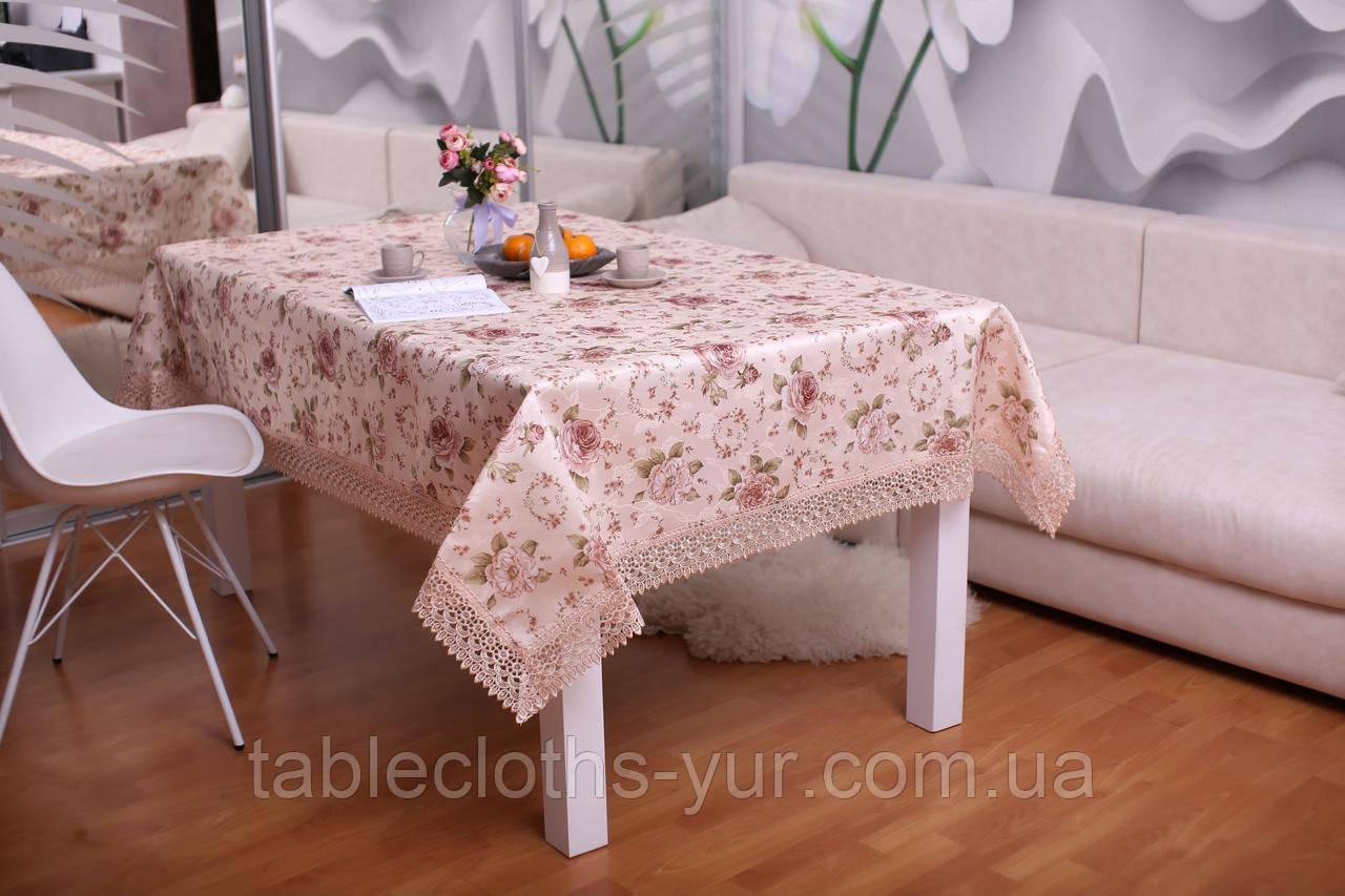 Скатерть Праздничная с Кружевом 110-150 3D «Beautiful» Прямоугольная №7