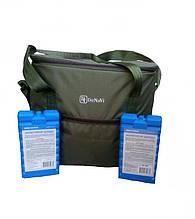 Термосумка для продуктов, сумка-холодильник 30 литров с двумя аккумуляторами холода в комплекте