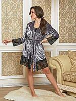 Бархатная велюровая женская пижама майка шорты и халат с кружевом серая 44 46 48 50