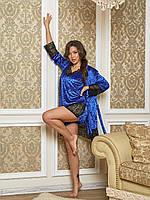 Бархатная велюровая женская пижама майка шорты и халат с кружевом электрик 44 46 48 50
