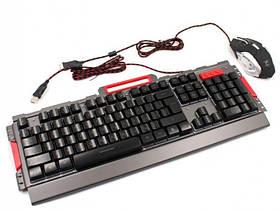 Комплект проводная клавиатура игровая LED и мышь HLV K33 6946