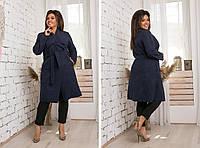 Шерстяна в'язана жіноче демісезонне батальне пальто-кардиган на запах з кишенями р. 42-46. Арт-2470/15