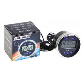 Автомобильные часы - термометр - вольтметр VST 7042V Black