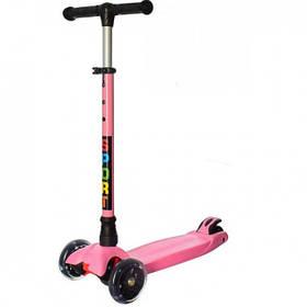 Самокат трехколесный детский iTrike JR 3-060-14-P светящиеся колеса Pink
