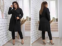 Шерстяна в'язана жіноче демісезонне батальне пальто-кардиган на запах з кишенями р. 42-46. Арт-2470/15 чорне