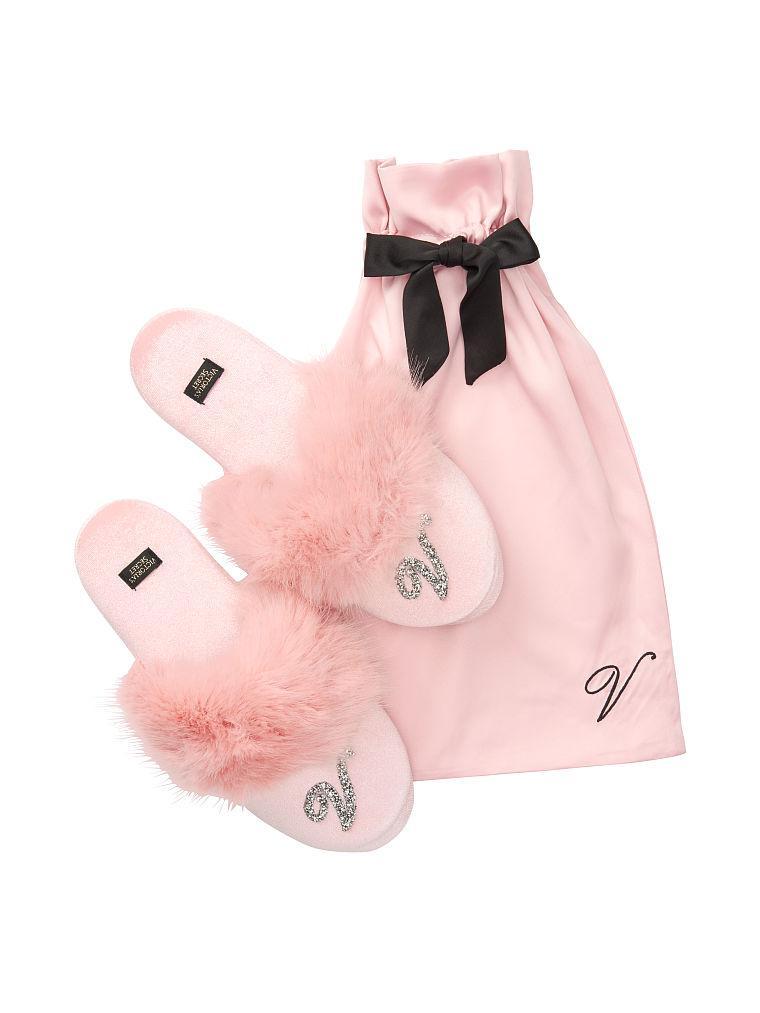 Женские Комнатные Тапочки Victoria's Secret Velvet Logo Slippers, Розовые