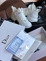 Модные кроссовки Диор белые Обувь Christian Dior D-Connect white из натуральной кожи высокие Премиум