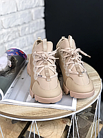 Женские кроссовки Кристиан Диор бежевые Обувь Christian Dior D-Connect Beige кожаные высокие Премиум