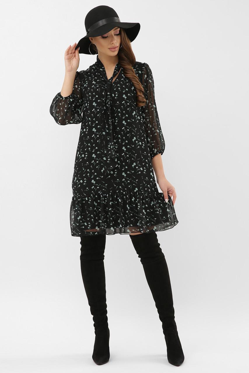 Летнее шифоновое платье трапеция с бантом| черный-зеленый цветок| Малика