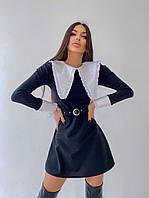 Платье мини женское приталенное с контрастным воротником с рюшами Smb5354