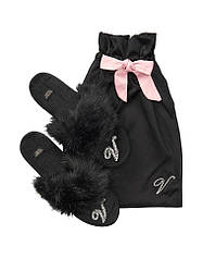 Жіночі Кімнатні Капці Victoria's Secret Velvet Logo Slippers, Чорні 40 - 41