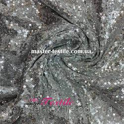Пайеточная ткань на сетке (серебро)