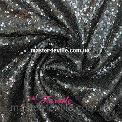 Пайеточная ткань на сетке (черная)