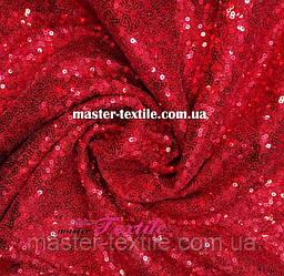 Пайеточная ткань на сетке (красная)