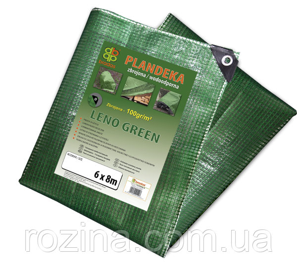 Тент (тарпаулин), LENO GREEN, 6 х 10 м, 100г - прозрачный,  PLCG1006/10