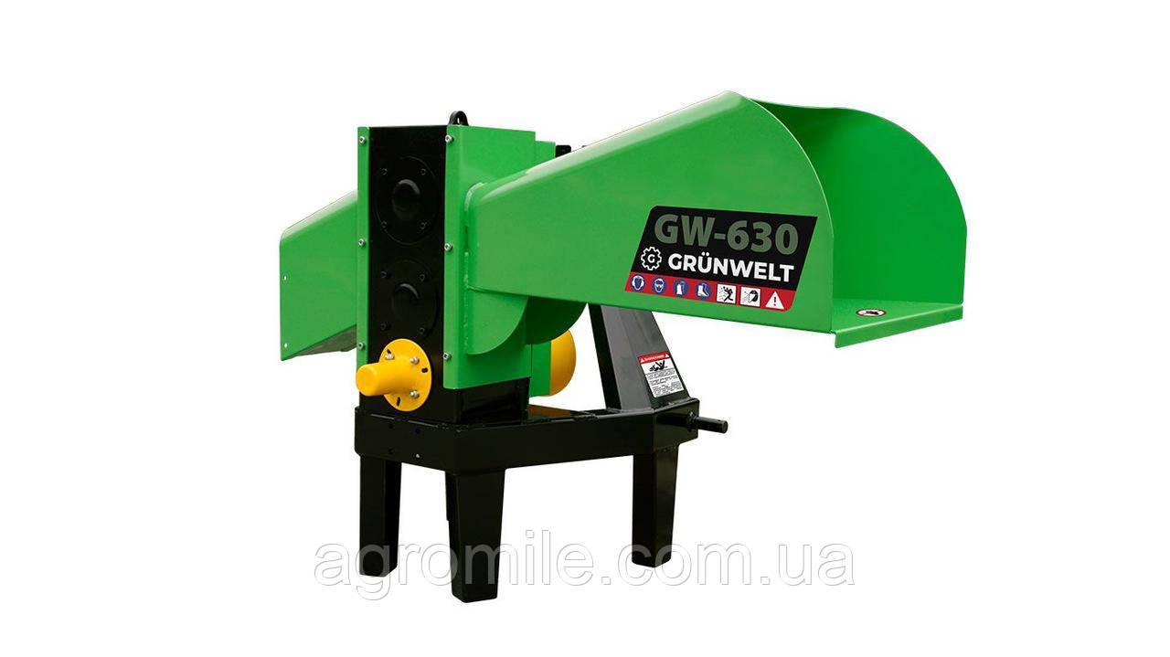 Подрібнювач гілок Grunwelt GW-130/6 (110 мм, 6 ножів, ВОМ, 25 л. с.)
