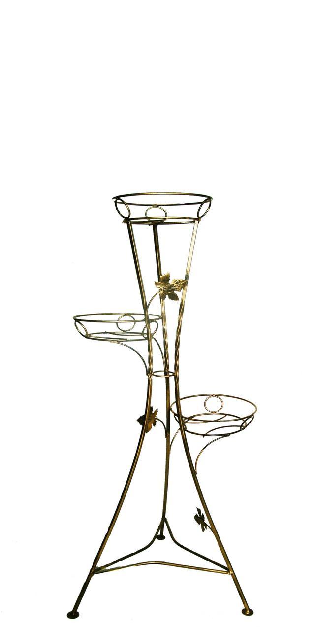 """Підставка кована для квітів """"Вежа"""" на 3 вазона"""