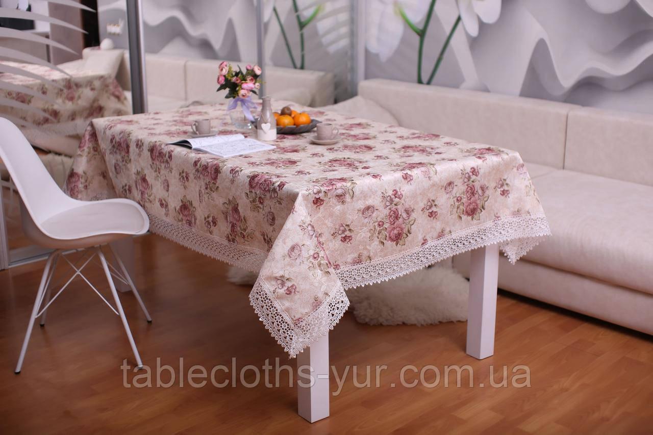 Скатерть Праздничная с Кружевом 110-150 3D «Beautiful» Прямоугольная №12